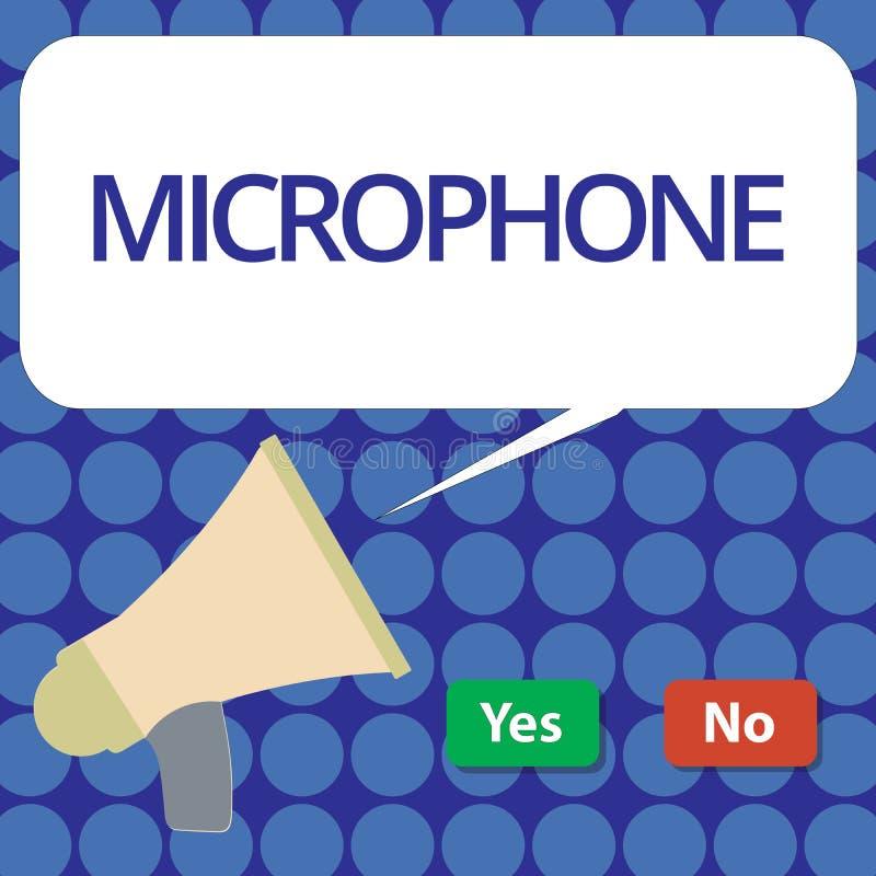 Microphone des textes d'écriture de Word Le concept d'affaires pour l'instrument pour convertir le bruit salue soit transmis a en illustration libre de droits