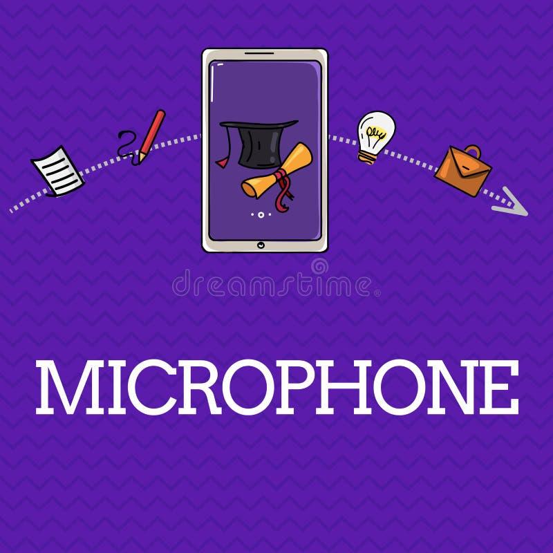 Microphone des textes d'écriture L'instrument de signification de concept pour convertir le bruit salue soit transmis a enregistr illustration libre de droits