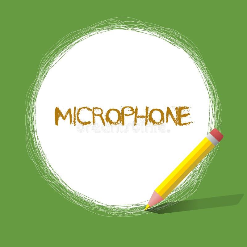 Microphone des textes d'écriture L'instrument de signification de concept pour convertir le bruit salue soit transmis a enregistr illustration stock