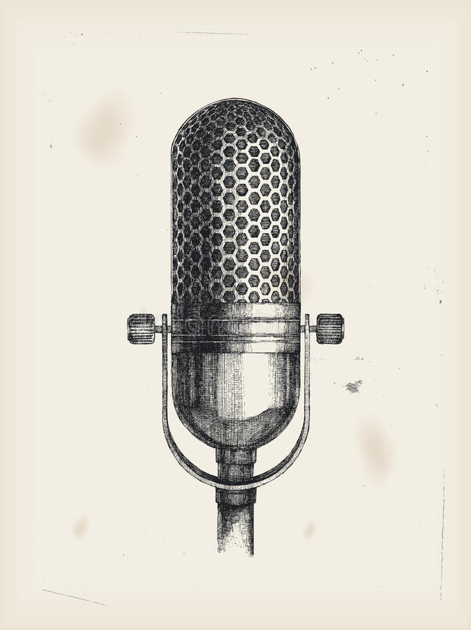 Microphone-drawing royalty free illustration