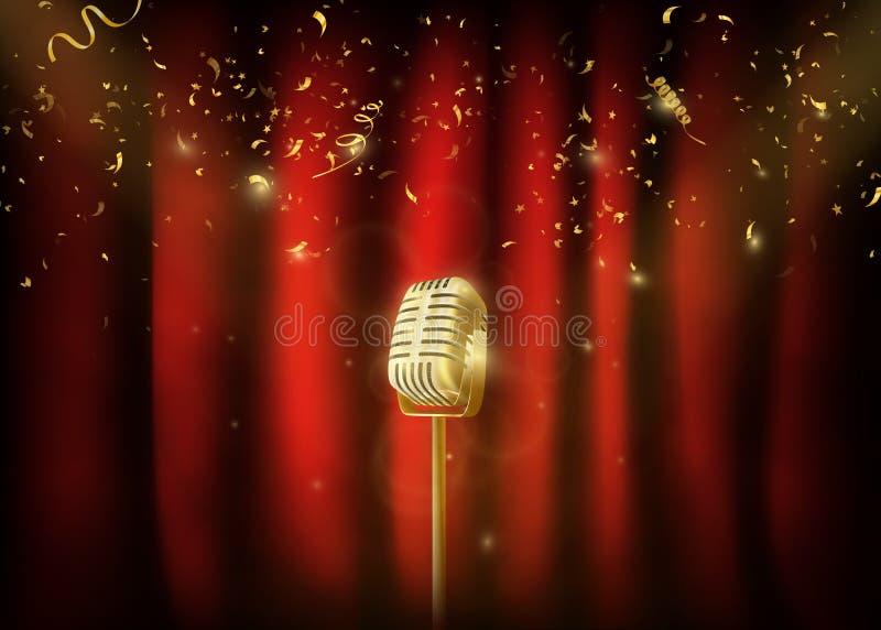 Microphone en métal d'or de vintage Fond rouge de rideau avec le spo illustration libre de droits