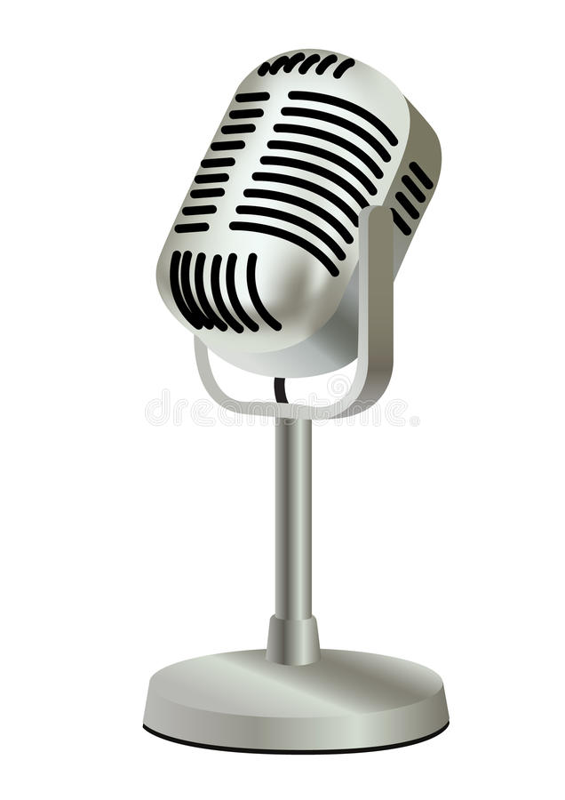 Microphone en plastique de cru en métal vieux   illustration stock