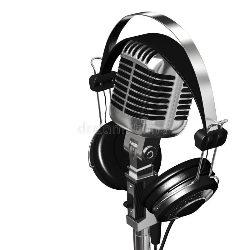 Microphone et écouteurs illustration libre de droits