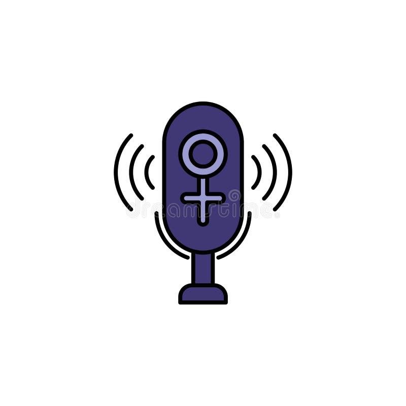 microphone,,female, voice recording icon. Element of feminism illustration. Premium quality graphic design icon. Signs and symbols vector illustration