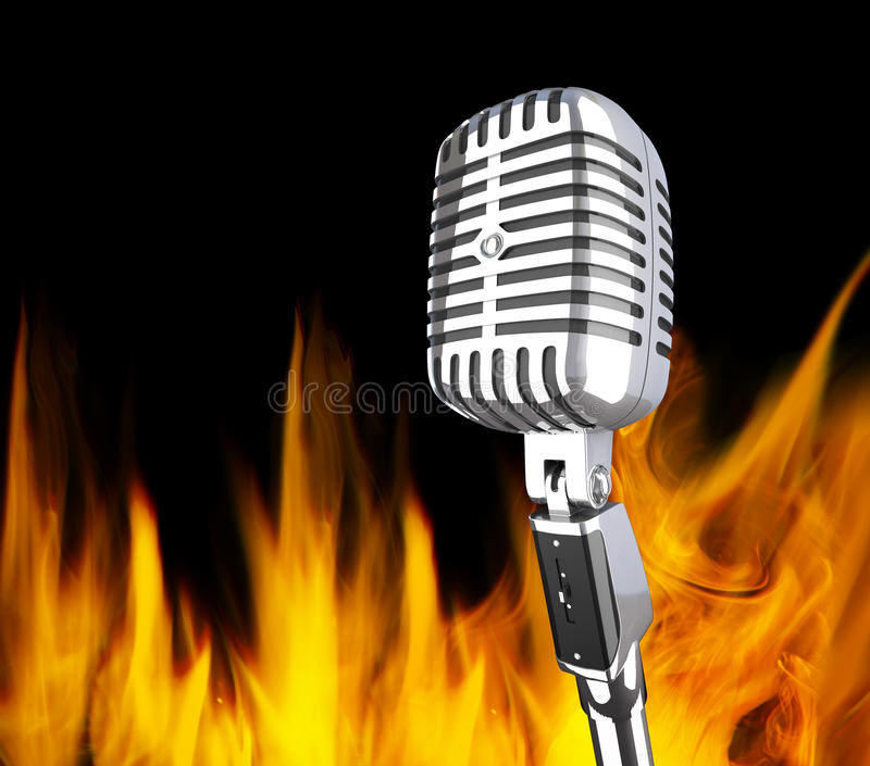 Microphone in the fire vector illustration