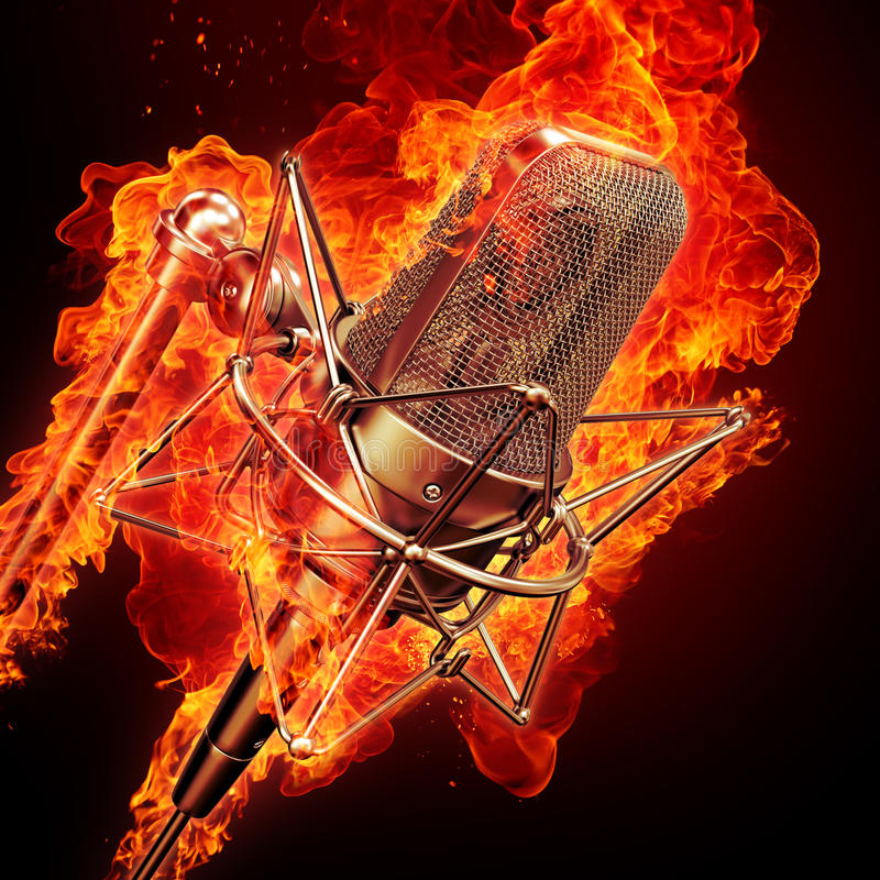 Download Microphone & fire stock illustration. Image of jazz, night - 16019915