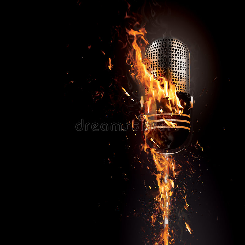 Microphone on fire. A metaphorical image of a studio microphone on fire, isolated on a black background