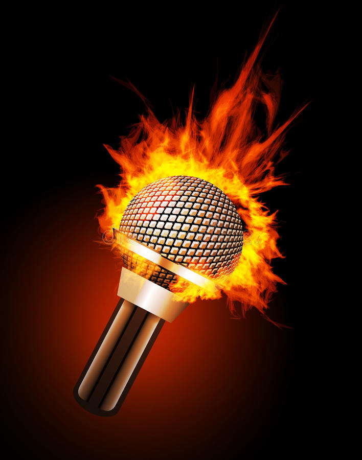 Microphone in Fire. On Black Background vector illustration
