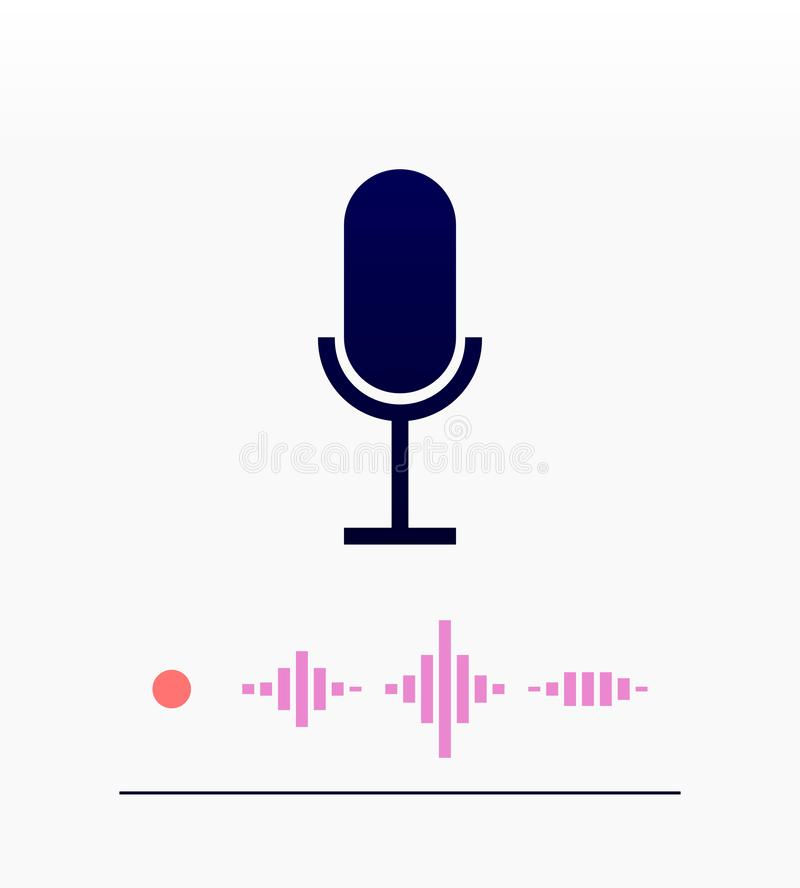 Microphone flat icon with wave silhouette royalty free illustration