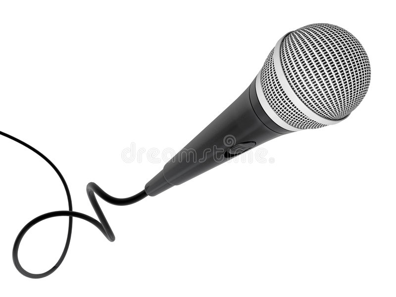 Microphone flying stock image