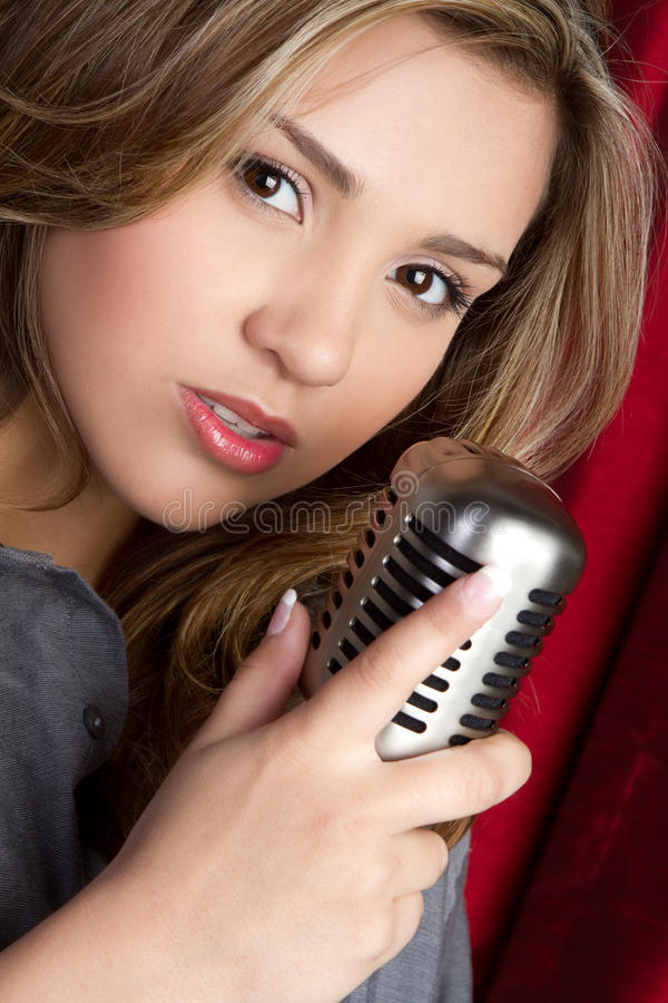 Microphone Girl royalty free stock image
