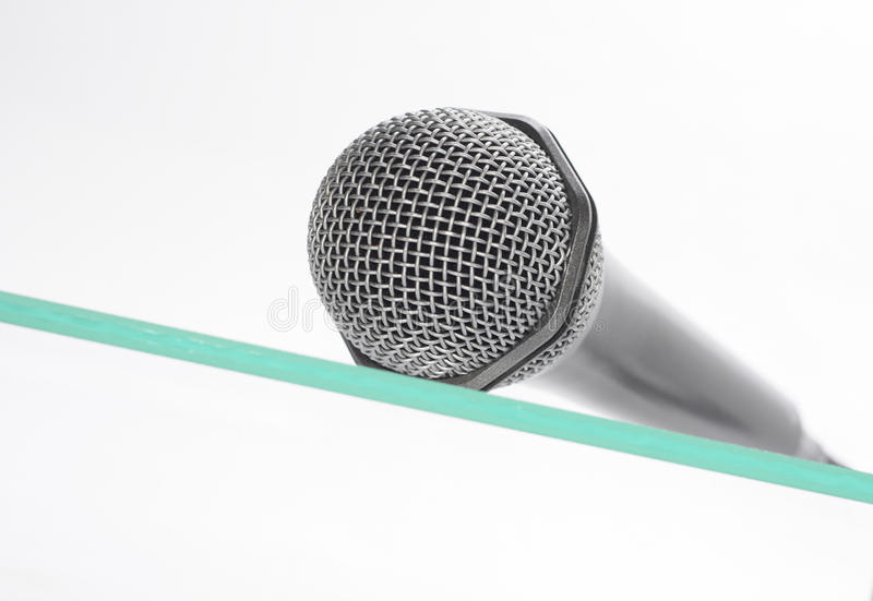 Download Microphone the glass table stock photo. Image of broadcasting - 12202334