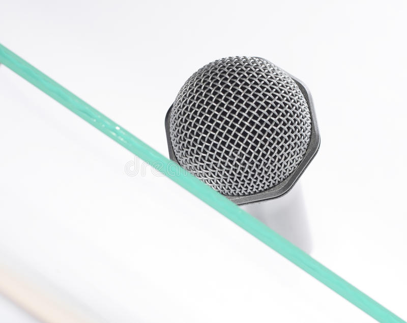 Download Microphone On The Glass Table Stock Photo - Image: 13084608