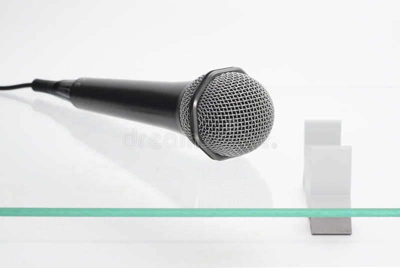 Download Microphone On The Glass Table Stock Photo - Image: 13491324