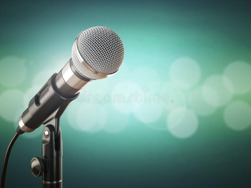 Microphone on the green abstract background. 3d vector illustration