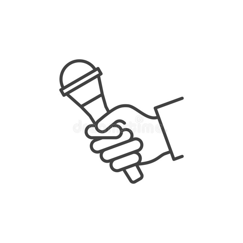 Microphone in Hand vector linear icon. Hand with Mic symbol. Microphone in Hand vector linear icon. Hand with Mic concept symbol in thin line style royalty free illustration
