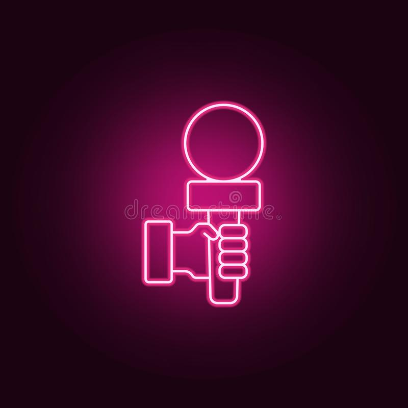 microphone in hands icon. Elements of interview in neon style icons. Simple icon for websites, web design, mobile app, info royalty free illustration