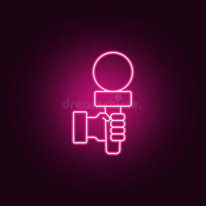 Microphone in hands icon. Elements of interview in neon style icons. Simple icon for websites, web design, mobile app, info. Graphics on dark gradient royalty free illustration