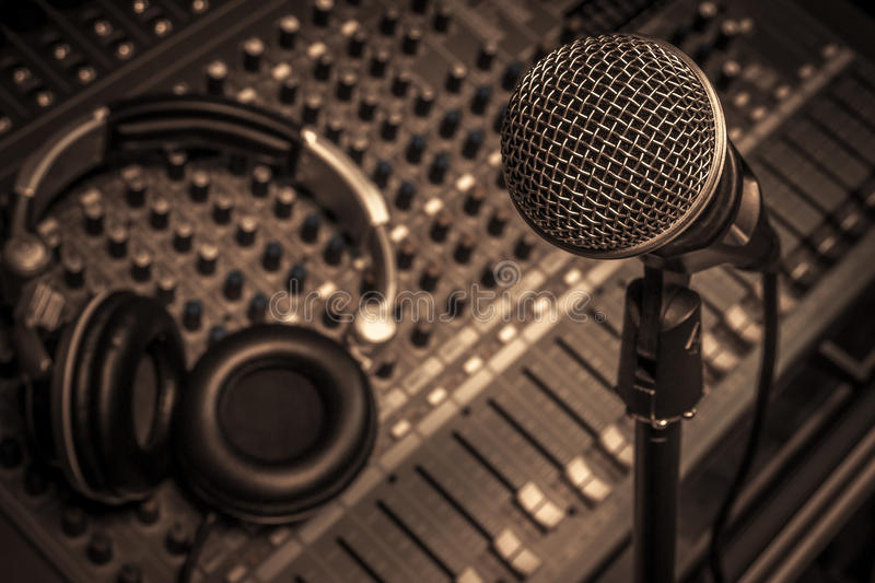 Microphone,headphone,sound mixer background. royalty free stock image