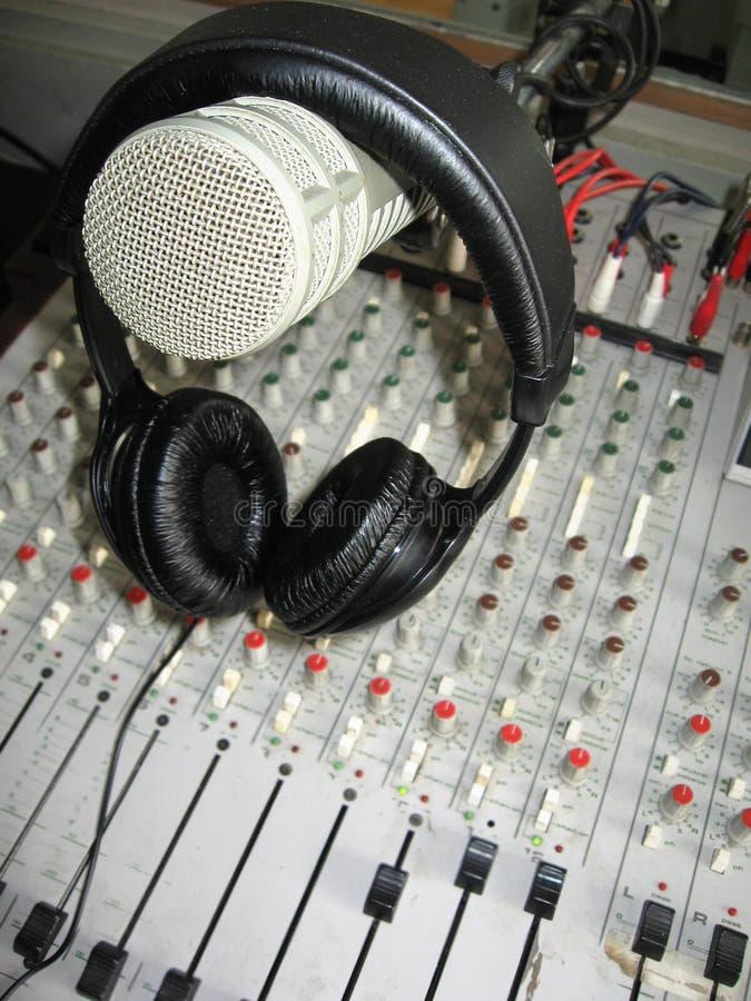 Microphone on headphones stock image