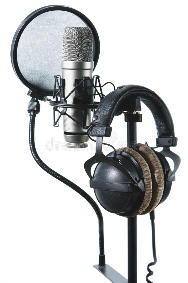 Microphone and headsets. On a bar stock photos