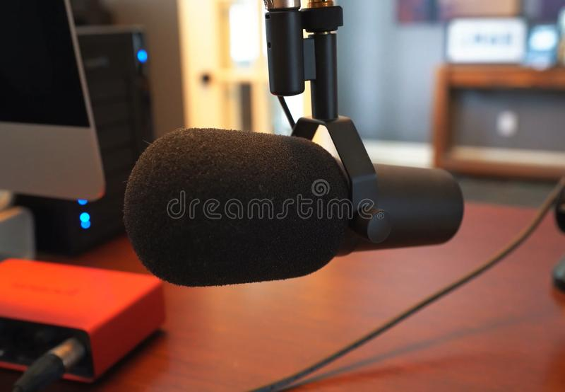 Microphone for home recording studio. Sound recording stock photos