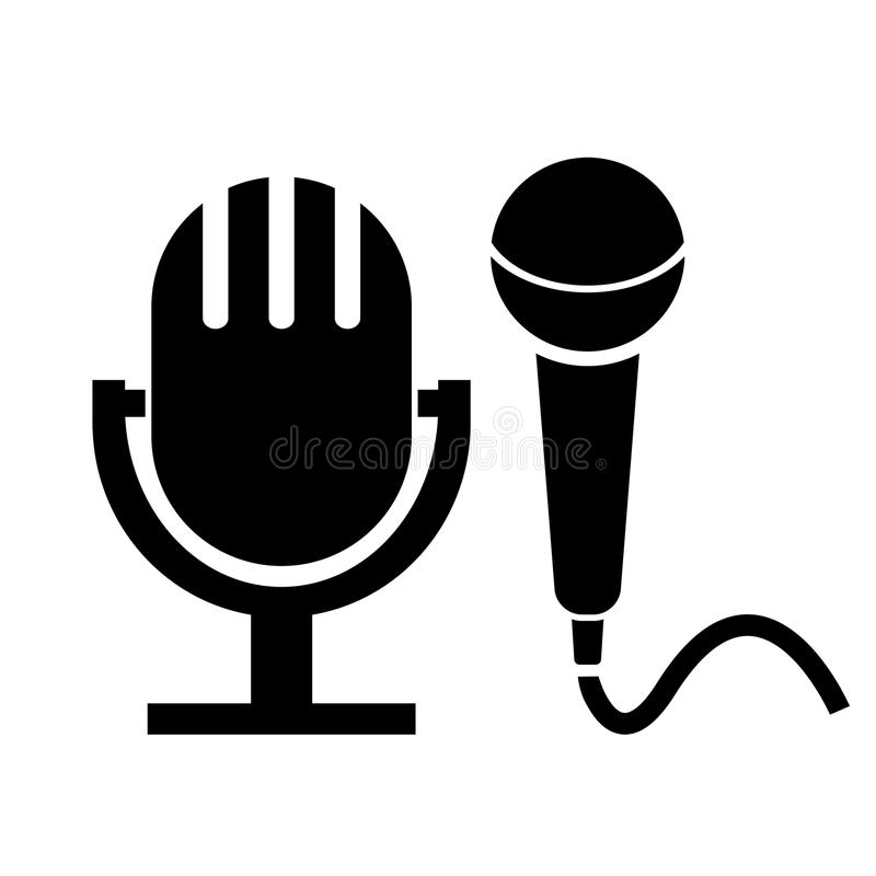 Microphone icon. S set isolated on white