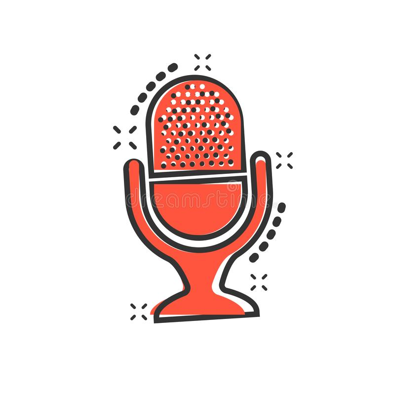 Microphone icon in comic style. Mic broadcast vector cartoon illustration pictogram. Microphone mike speech business concept stock illustration