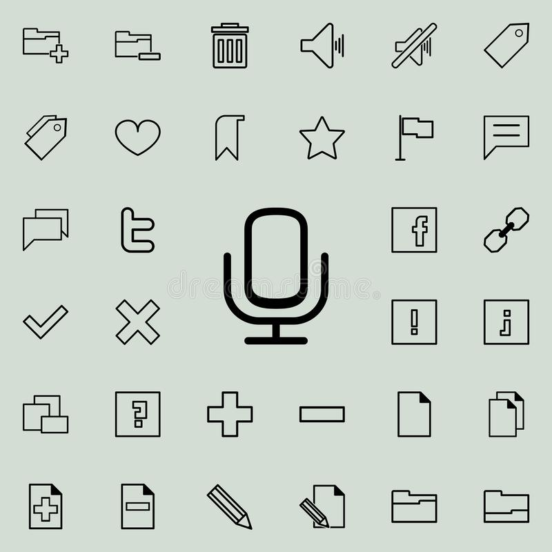 microphone icon. Detailed set of minimalistic icons. Premium graphic design. One of the collection icons for websites, web design, stock illustration