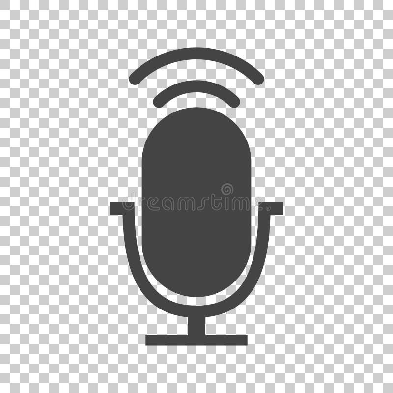 Microphone icon flat vector. Illustration stock illustration