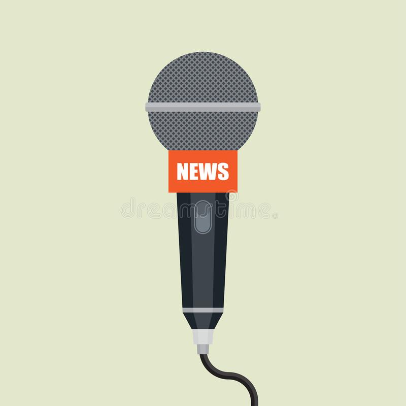 Microphone icon. Interview. News on TV and radio. Vector illustration stock illustration