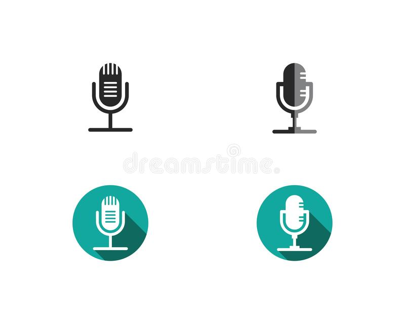 Microphone icon. Vector template royalty free illustration