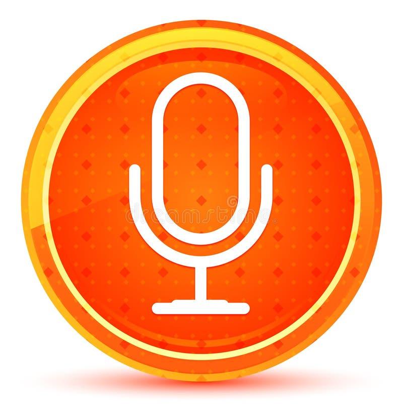 Microphone icon natural orange round button. Microphone icon isolated on natural orange round button stock illustration