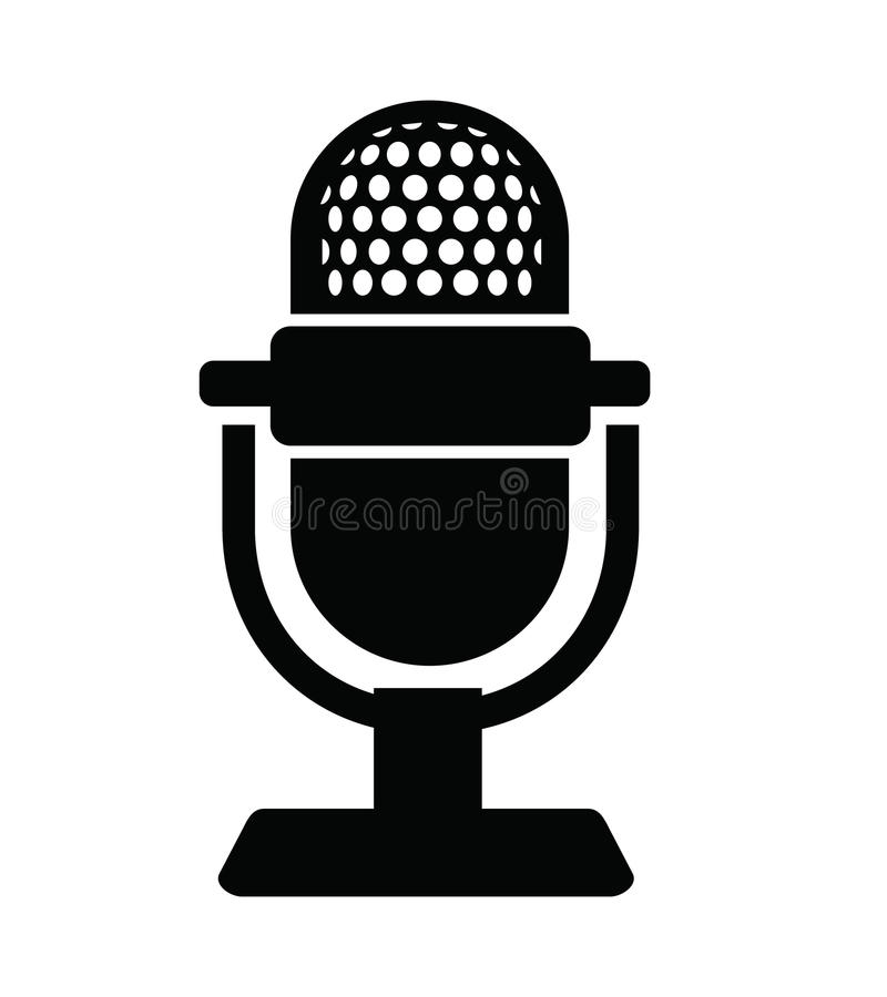 Microphone Icon stock vector. Illustration of cable, instrument ...