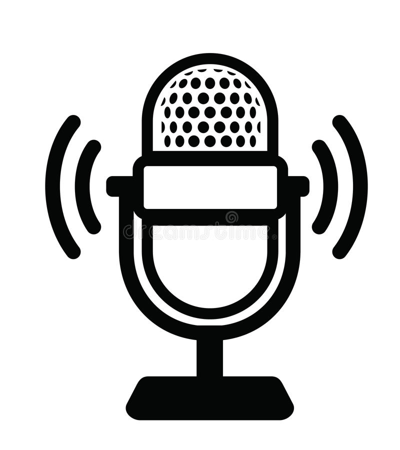 Microphone Icon. Vector black Microphone Icon on white background stock illustration