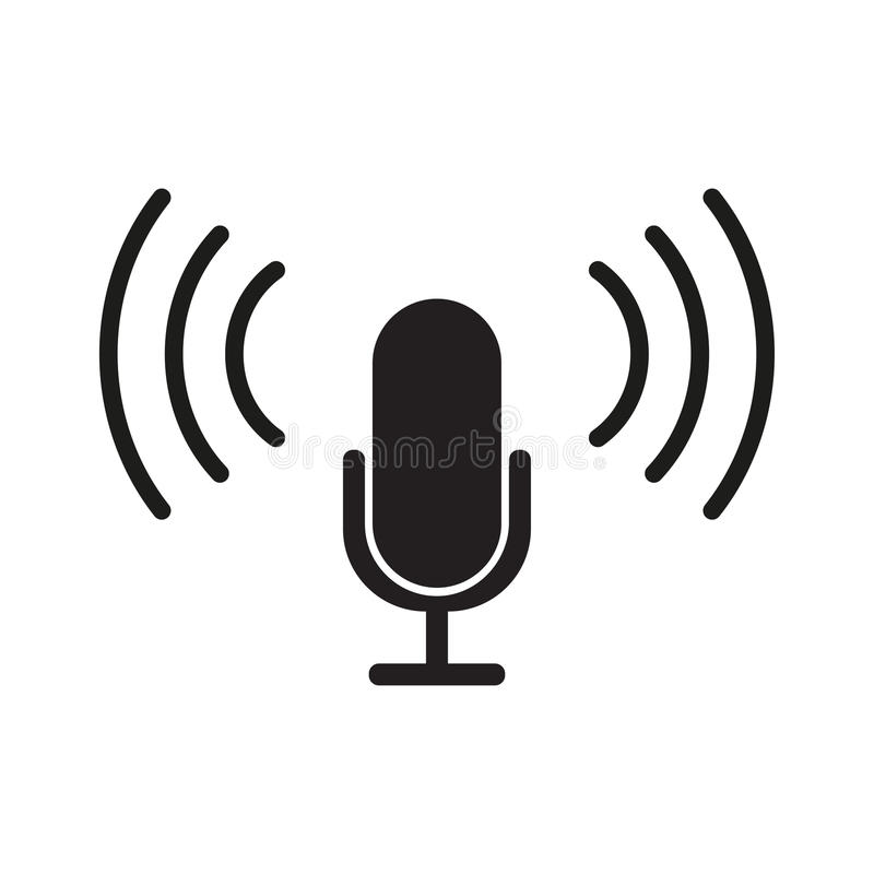 Microphone Icon vector flat design stock illustration
