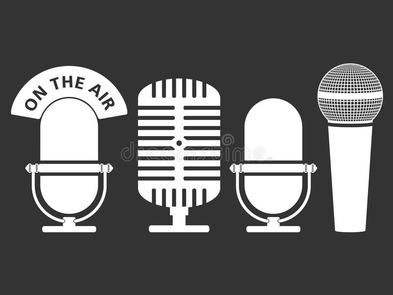 Microphone Icons. White microphone icons on dark background vector illustration