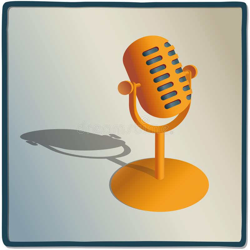 Microphone. Illustration of a microphone to record voice stock illustration