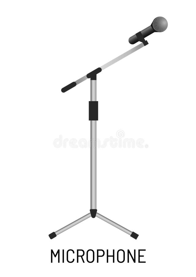 Microphone isolated object music recording studio equipment. Music recording studio equipment microphone isolated object vector isolated sound record and playing vector illustration