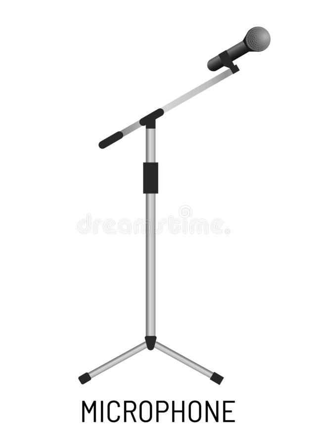 Microphone isolated object music recording studio equipment. Music recording studio equipment microphone isolated object vector isolated sound record and playing royalty free illustration