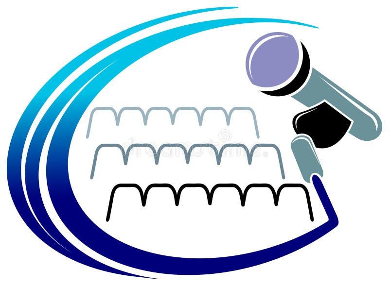 Microphone logo. Isolated illustrated microphone in auditorium logo design vector illustration