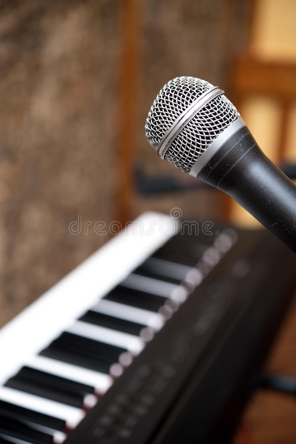 Microphone macro close up singing voice concept royalty free stock photo