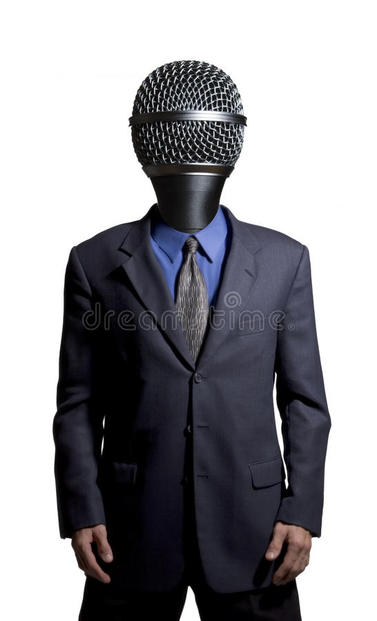 Microphone man stock image