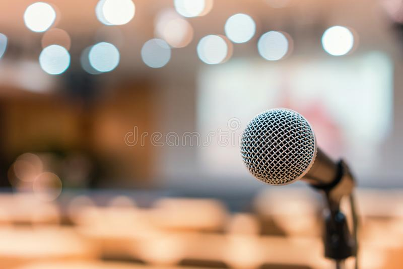 Microphone in meeting room for a conference stock photos