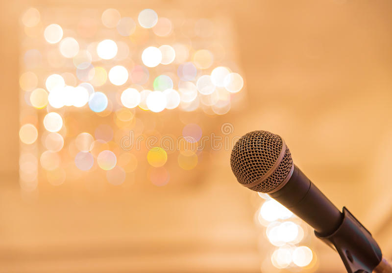 Microphone in meeting room before a conference.  stock photography