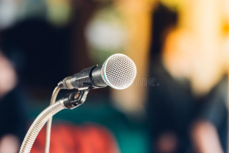 Microphone in meeting room use for amplify talk stock image