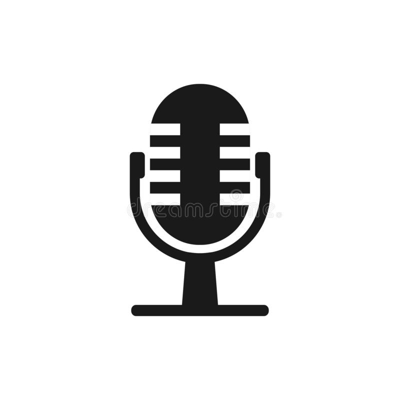 Microphone mic icon. Vector illustration, flat design royalty free illustration