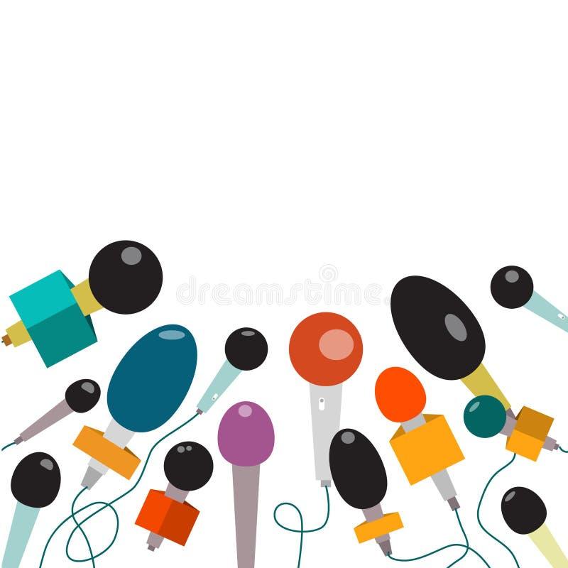 Microphone Microphones plats de conception de vecteur illustration stock