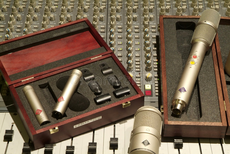 Microphone and mixer royalty free stock images