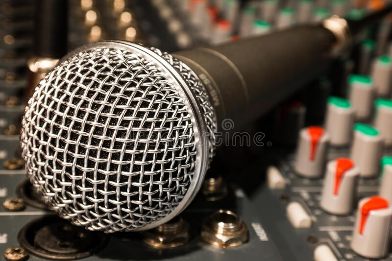 Microphone on mixer royalty free stock photos
